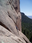 Rock Climbing Photo: Cleaning the second belay at the start of P3. The ...