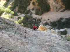 Rock Climbing Photo: Chris Sorensen on the second pitch of Run For Cove...