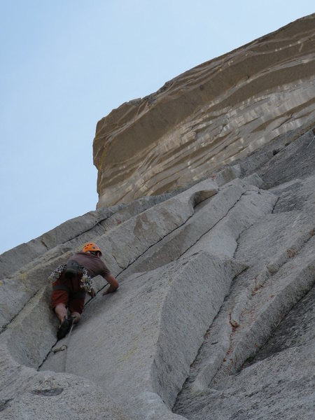 Climbing the first Zig Zag pitch<br> photo by Scott Bennett
