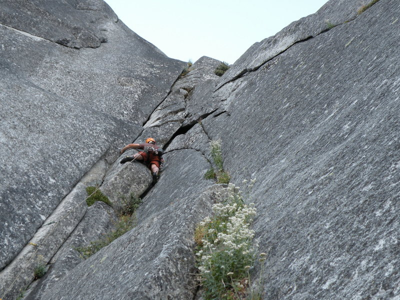 Climbing the pitch above the Higbee Hederal<br> photo by Scott Bennett