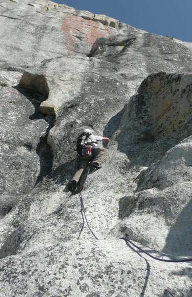 Starting up pitch 3 from optional second belay.