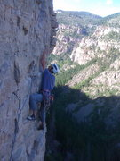 Rock Climbing Photo: Josh Gross starting P3 (160 ft., 5.12b).