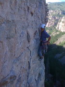 Rock Climbing Photo: Josh Gross on P3, 5.12b, 160 ft.  Mixed bolts and ...