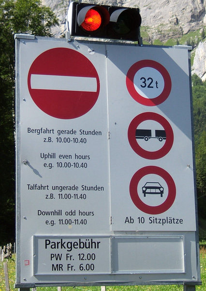 The stoplight for the road to Melchsee.  The toll for a car is 12 CHF (about 8 Eur or 12 USD). Pay inside the gondola building directly to the left.