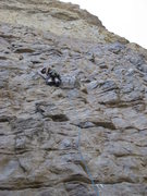 Rock Climbing Photo: Chris leading the 100ft p1.