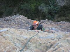 Rock Climbing Photo: Chris seconding P2, 5.11b.