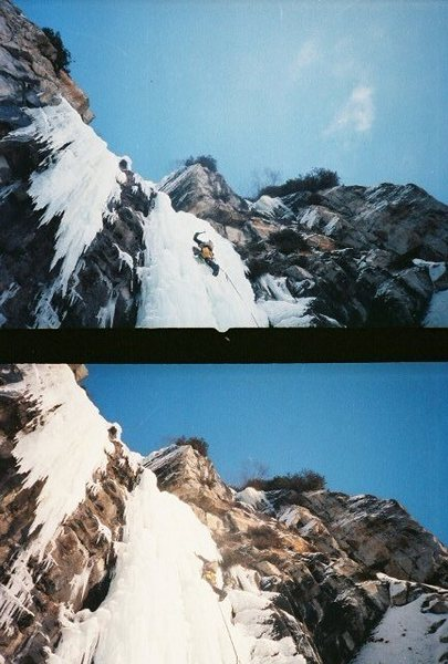 Rock Climbing Photo: Myself leading third pitch. Vintage photo 1987, ph...
