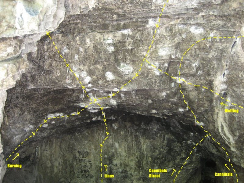 This photo shows the starts of several routes in the cave and where Melting joins onto Burning.