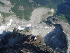 Rock Climbing Photo: Flex romping up the upper buttress photo by Jeff k...