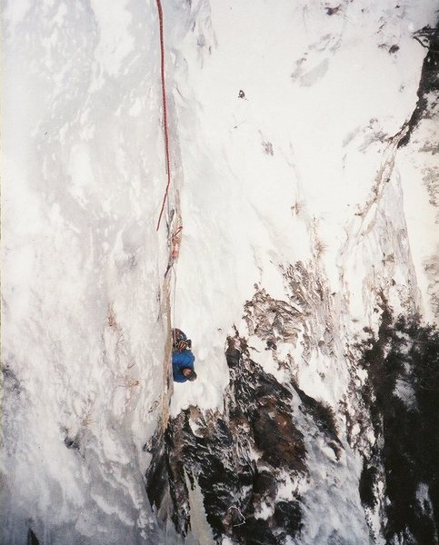 Ascending third pitch. Vintage photo, 1987, by Ted Hammond.