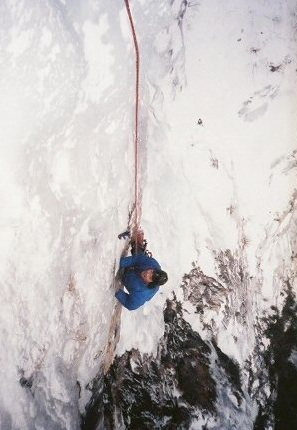 Doing the traverse. Vintage photo 1987, by Ted Hammond.