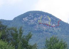 Rock Climbing Photo: The cliff from Rt 30 at Lewey Lake.  Red line is t...