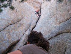 Rock Climbing Photo: emily Libacking the crack