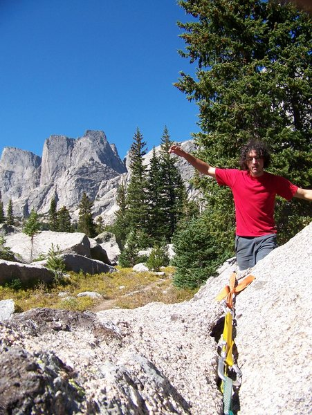Walking a line in cirque of the towers wind river mountians WO