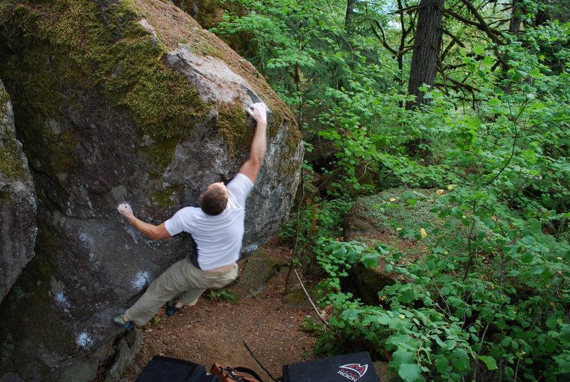 Rock Climbing Photo: Thinking big and hitting the lip.