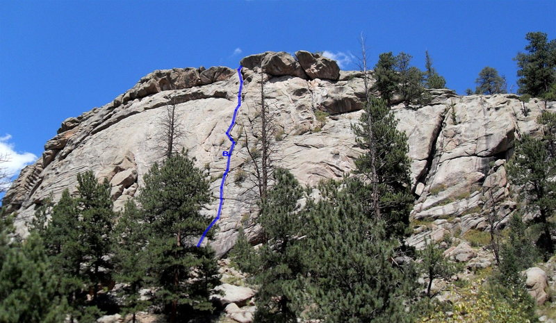 "Arch Rock route follows the crack shown with the blue line.  The first belay station is labeled with a ""B"" and is wide and comfortable.  For the top belay after the second pitch, recommend belaying on the ledge just above the chimney so you can communicate with your second."