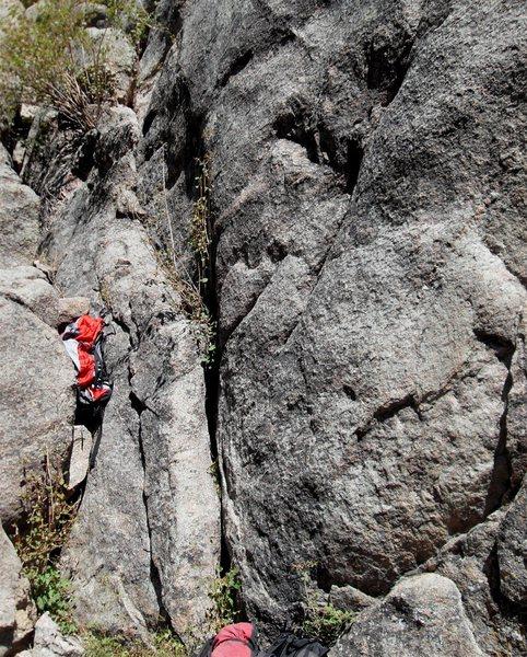 Rock Climbing Photo: The regular start follows the easy crack to the ri...
