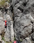 Rock Climbing Photo: The regular start follows the easy crack to the ri...