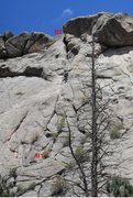Rock Climbing Photo: Pitch two.    B1 is the belay ledge above pitch on...