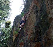 Rock Climbing Photo: Rick Bradshaw on the Wheel of Karma.