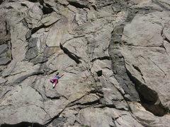 Rock Climbing Photo: Climber approaching the crux.
