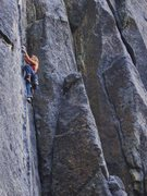 Rock Climbing Photo: Monica leading a sport route under the rainbow arc...