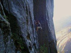 Rock Climbing Photo: Dain starting up the dike