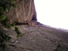 Rock Climbing Photo: Abel leading Tsunami