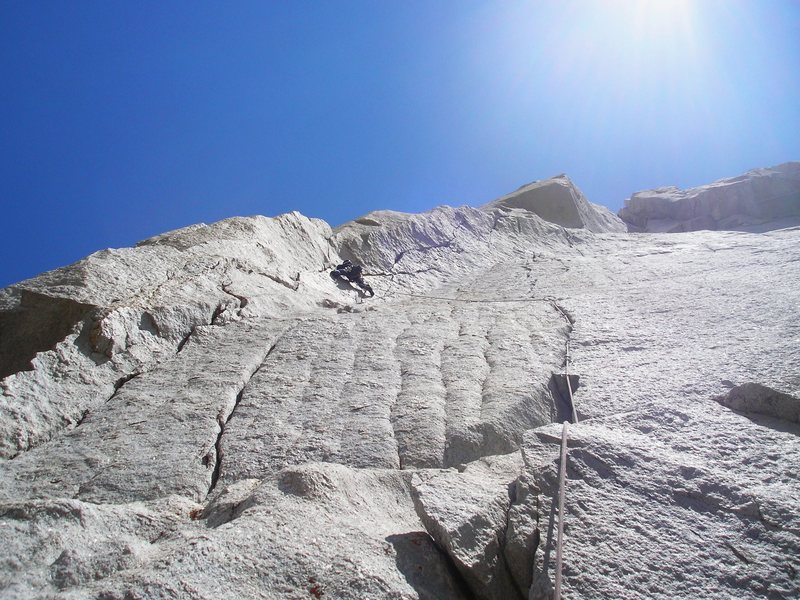 Monica leading the crux on pitch 6.