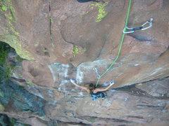 Rock Climbing Photo: Kirsten starting into the crux.