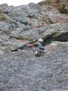 Rock Climbing Photo: The 5.9 crux on P2 is under this huge flake. It pr...