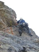 Rock Climbing Photo: Kenny Parker sails through the 5.8 roof on P3. He ...