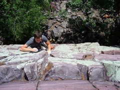 Rock Climbing Photo: Smiling while sending, Isaac Therneau.  Aug 09.