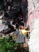 Rock Climbing Photo: Henning leading the Direct.  Aug 09.