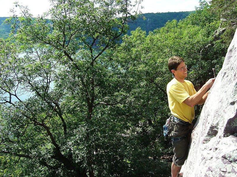Beautiful climb, beautiful setting, Henning on the Direct.  Aug 09.