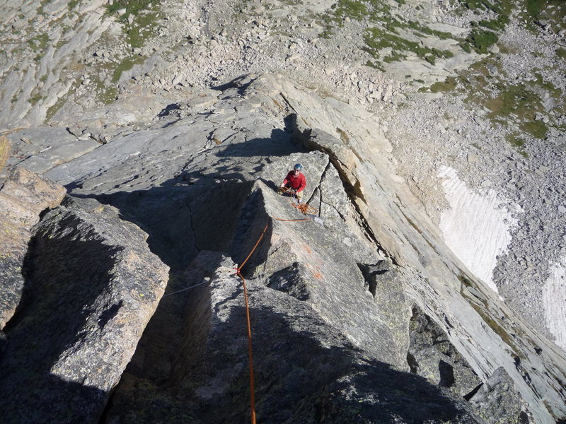Rock Climbing Photo: Looking down the ridge from the top of the last te...