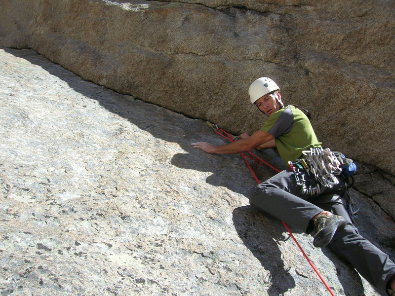 Rock Climbing Photo: Steven about to cast off on the heady crux pitch. ...