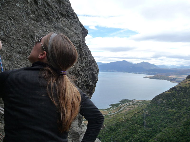 Looking out on Lake Wakatipu from Wai Creek climb