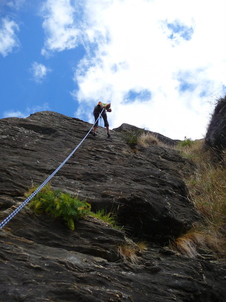 Repelling at Wai Creek near Queenstown, New Zealand