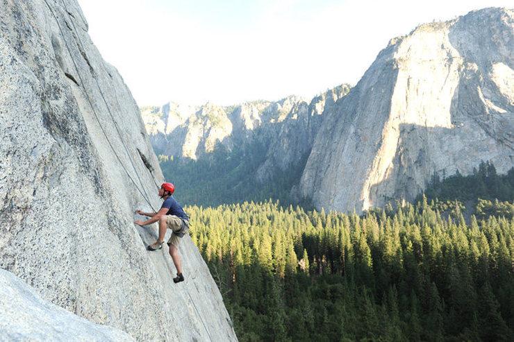 Alex Abzug enjoying Pine Line, at the Base of El Cap