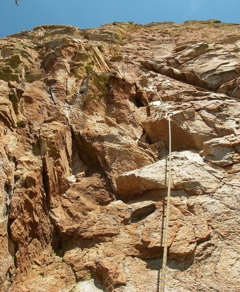 Rock Climbing Photo: Start of pitch 1.  Fort Stress is on the left.