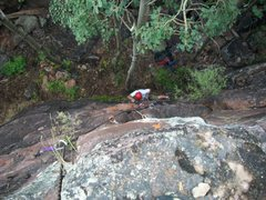 Rock Climbing Photo: Blake around the crux