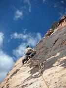 Rock Climbing Photo: Larry on the thin stuff!