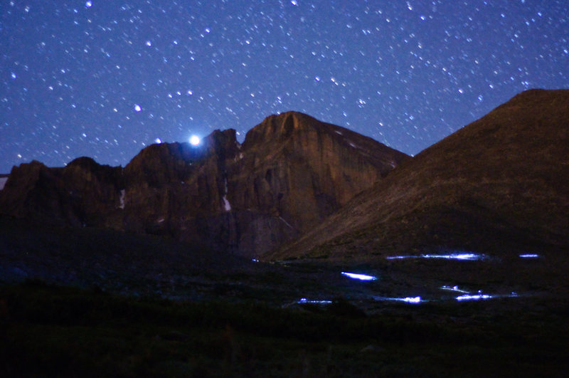 Rock Climbing Photo: A stream of headlamps headed up Long's.