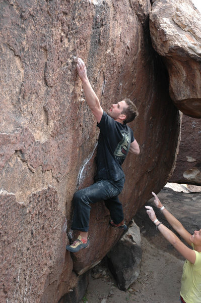 Rock Climbing Photo: Moving off the flake.