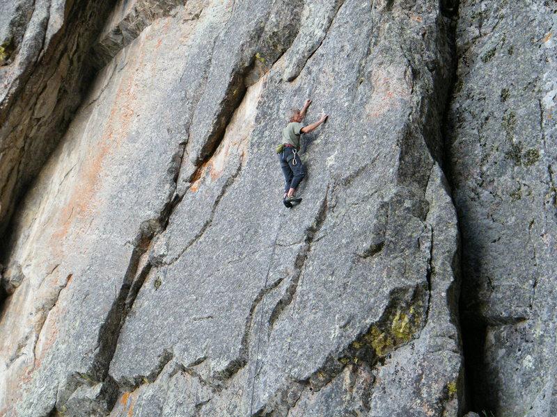 Rock Climbing Photo: Bob Siegrist slabbing on Take Me to Your Leader.