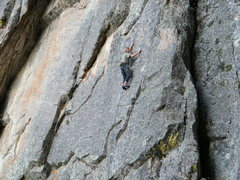 Rock Climbing Photo: Bob Siegrist slabbing on Take Me to Your Leader.