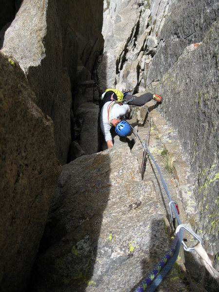 Looking down the crux pitch from above the roof.  It is steeper than it looks.