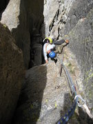 Rock Climbing Photo: Looking down the crux pitch from above the roof.  ...
