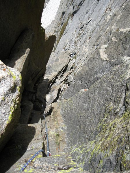 Another view from the belay looking down pitch 4.